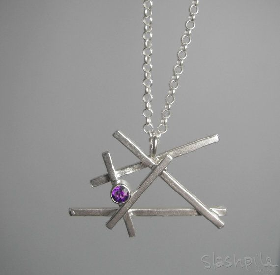 """Amethyst Slashpile Necklace by SlashpileDesigns on Etsy, $80.00  Slashpile Pendant comes on an 18"""" sterling silver rollo chain. This pendant features a beautiful sparkly 3.5 mm amethyst."""