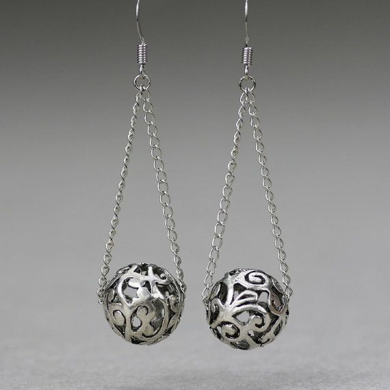 earth bold earrings sterling textured contemporary handcrafted fl jewelry unique modern dangle double and handmade with silver