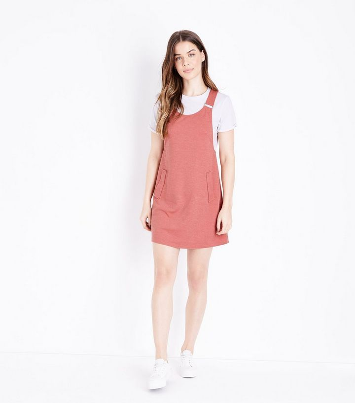 Coral Cross Hatch Pinafore Dress  239cb8113