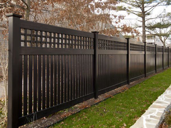 Image Result For Black Privacy Fence Brick House Awesome Privacy Fence Ideas For Residential Homes Privac Fence Design Backyard Fences Privacy Fence Designs