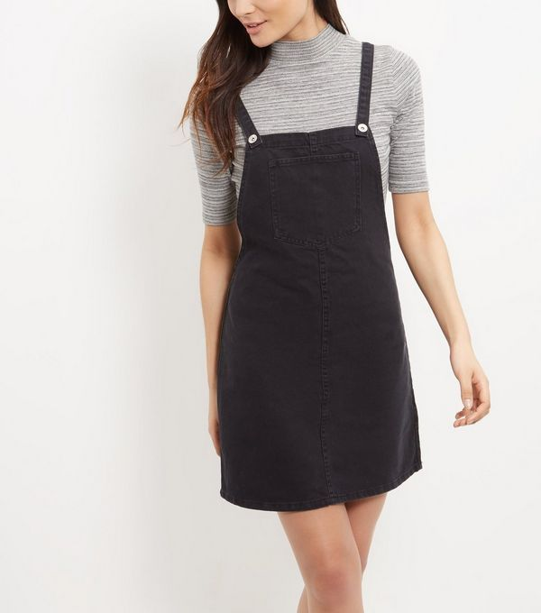 Black Washed Denim Dungaree Dress  | New Look