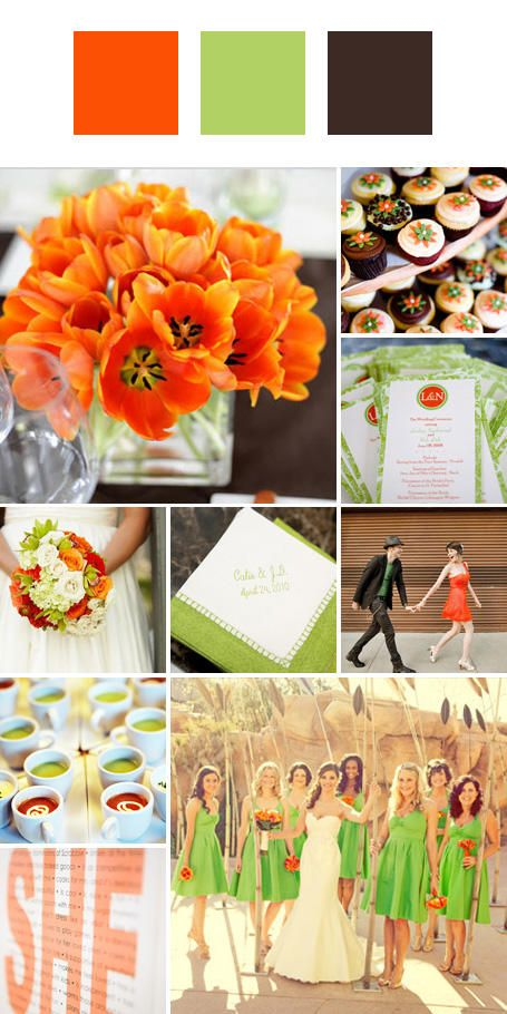 Wedding Colors: 25 Wedding Color Combos You've Never Seen - Chocolate, Lime, and Pink instead of tangerine