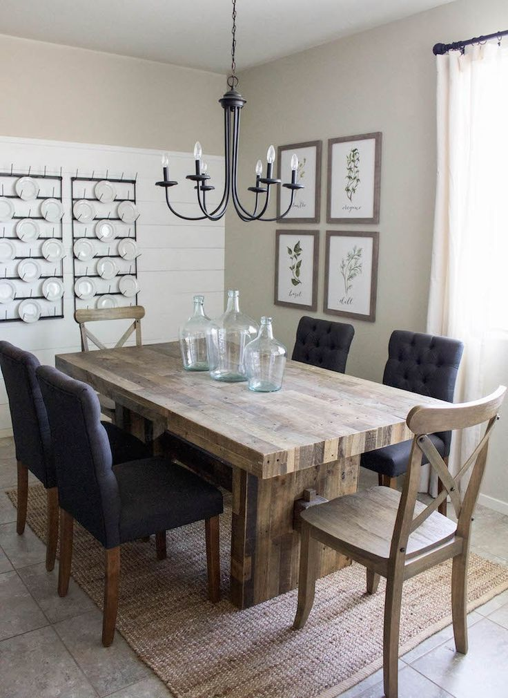 17 best ideas about farmhouse dining rooms on pinterest for Dining room table with bench