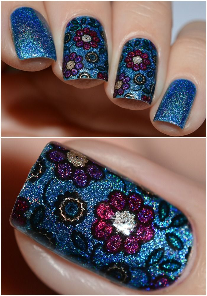 Colors by llarowe Winter 2015 Collectin - Ice Ice Baby, If You Dare, Hot Buttered Rum, Plum Perfect, Jewel Of Denial and Peacock Parade reverse stamping using leslie plates LS-136 by @luba_myfish_nails on Instagram.