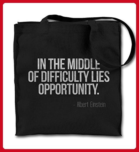 In The Middle Of Difficulty Lies Opportunity Einstein Quote Black Canvas Tote Bag, Cloth Shopping Shoulder Bag - Shoulder bags (*Amazon Partner-Link)