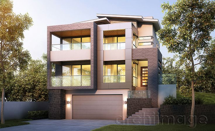 Architectural Render of a modern contemporary house using brick. House designed by Boyd Design Perth