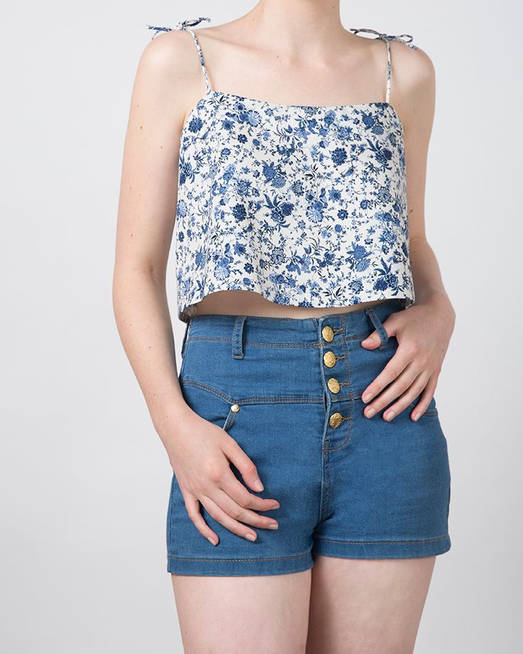 Plume Clothing. Penny Top in blue floral cotton/linen. Handmade in Melbourne.