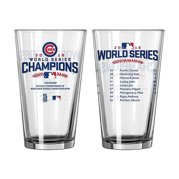 Chicago Cubs 2016 World Series Champions Roster Pint Glass  #ChicagoCubs #Cubs #FlyTheW #MLB