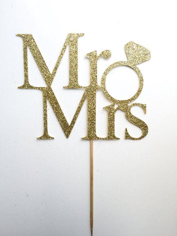 Mr and mrs cake topper wedding cake topper gold cake topper bridal shower decoration wedding decoration mr and mrs topper wedding reception