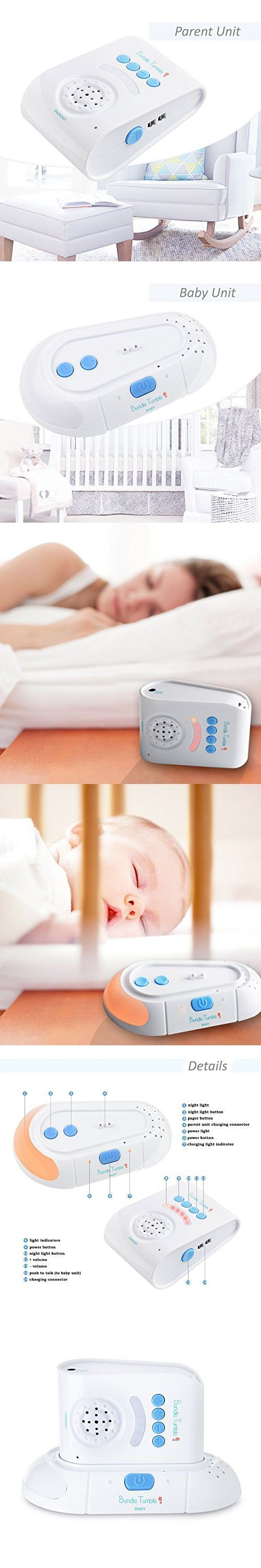 BundleTumble BT05 Safe & Sound Audio Baby Monitor with One Parent Unit - 2.4Ghz Digital Audio Monitor with Convertible Belt Clip For Parent Unit - Includes 2 USB cable & Pair of Rechargeable Batteries