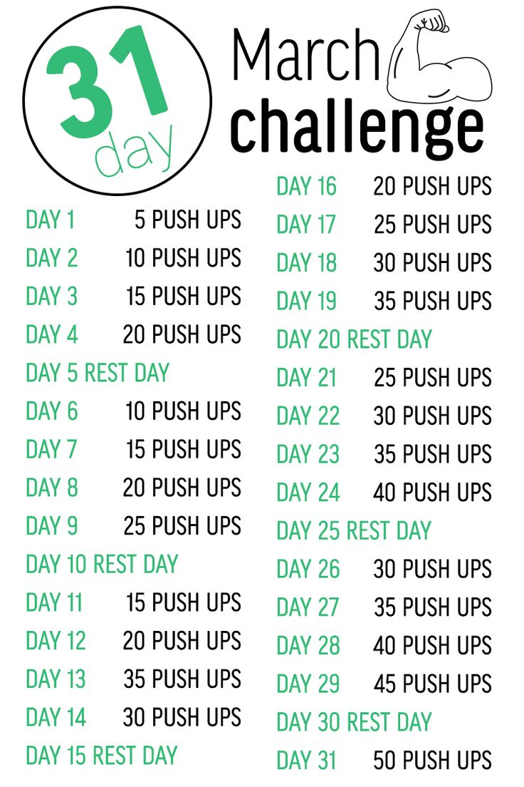 We're kicking off March with a 31-day fitness challenge. Push-ups not only strengthen your arms, but also your whole body!. They also help to improve posture, and prevent lower back injuries. Are you up for the challenge?