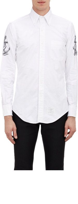 Thom Browne Embroidered-Sleeve Oxford Shirt Sale up to 70% off at Barneyswarehouse.com