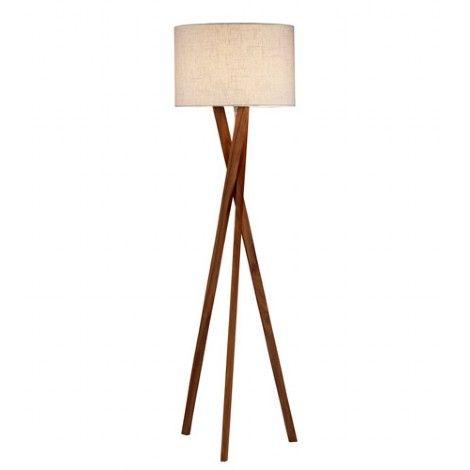 Lampe sur pied de style trépied en bois noyer avec abat-jour en lin crème. 3 intensités d'éclairage.