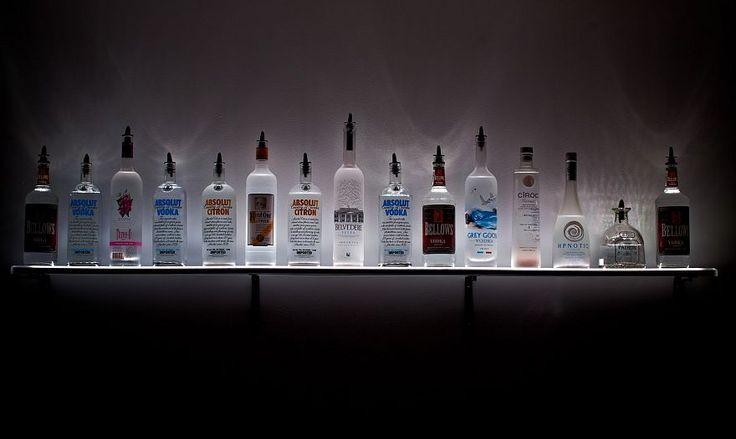 LED Lighted Wall Mounted Liquor Shelves Bottle Display for your Home Bar #bar #shelves