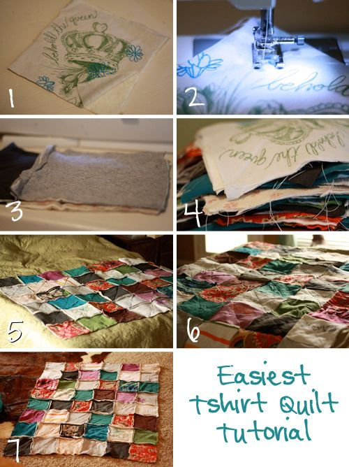 T-shirt quilt- what a fun project for youth or adults. IDEA: This would also be a cute idea to use all your old school tshirts that don't fit anymore. Put them together for a great blanket showing your school spirit that you could use on those cold nights at football games!