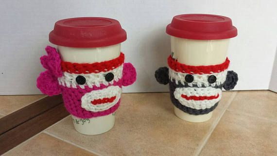 Check out this item in my Etsy shop https://www.etsy.com/listing/514241934/sock-monkey-coffee-cozy-to-go-cup-sleeve