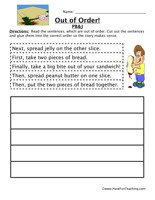 Peanut Butter and Jelly Sandwich Sequence Worksheet:Read the sentences, which are out of order. Cut out the sentences and glue them into the correct order so the story makes sense.    Peanut Butter and JellySequencing Worksheet – Click Here    Information: Sequence, Sequencing, Sequence of Events, Order of Events, Put Things In Order.
