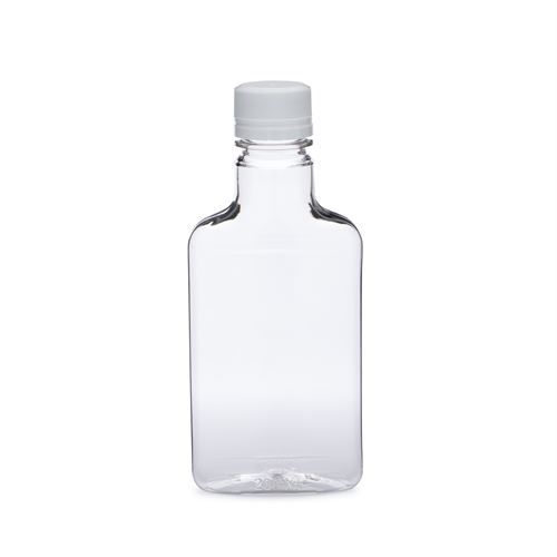 200 ml Clear PET Plastic Flasks (White Tamper Evident Cap)