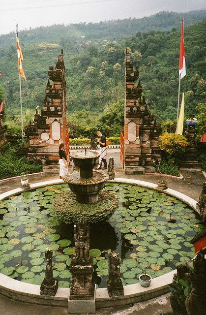 Brama Vihara Arama Buddhist Temple outside Lovina, Bali, Indonesia. There is an outdoor sink at this temple which instead of a mirror above it has a view of the whole valley - beautiful