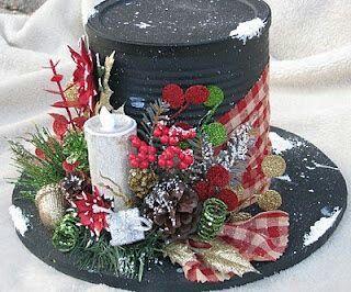 Christmas Tin Can Hat Centerpiece