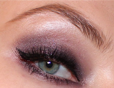 MAC Macriviolet fluidline (as base)  MAC Beauty Marked e/s (on lid)  MAC Sketch e/s (in crease and lower lashline)  Blackberry pigment sample (on centre of lid for a little shimmer)  MAC Shroom and Vanilla e/s (as highlight on brow bone)  L'Oreal Carbon Gloss liquid liner  Eyeko Skinny Brush Mascara (£15 here)  Lashaholic LA03 Wispy Strip Lashes (£7.95 here)
