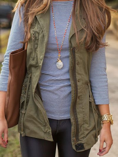 A neutral vest like this one is perfect for fall layering.