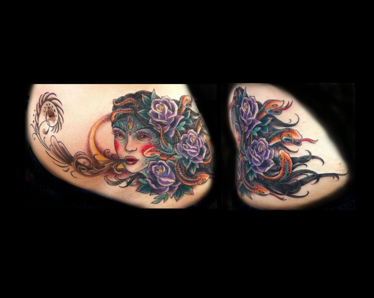... roses and snakes by Sadie Kennedy Rose Gold's Tattoo San Francisco
