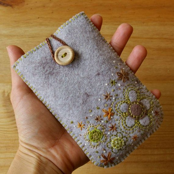 Felted Wool Embroidery | Wool felt gadget case Love the embroidery!                                                                                                                                                                                 More