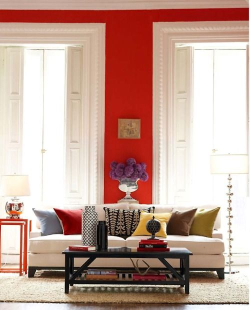 Red walls white trim jewel tone accent colors dream Red accents for living room