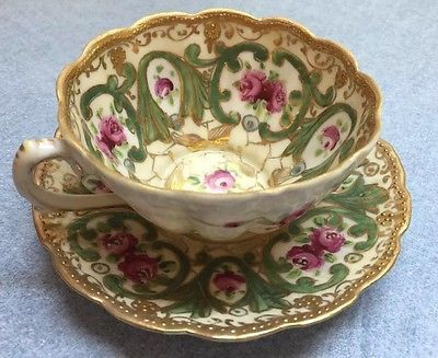 Vintage Oriental China Nippon Moriage Cup and Saucer