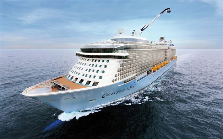Download wallpapers Quantum of the Sea, luxury passenger liner, white big ship, Caribbean Sea, waves
