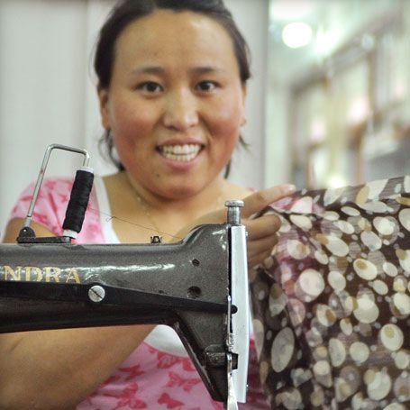 Meet Kalsang, one of our fabulous tailors! Kalsang has a rather cheeky sense of humour, and her laughter can always be heard somewhere in the workshop! She dreams of one day having her own fashion label and travelling the world- especially to Tibet. Read more about Kalsang here: https://eternalcreation.com/tailor-45.php