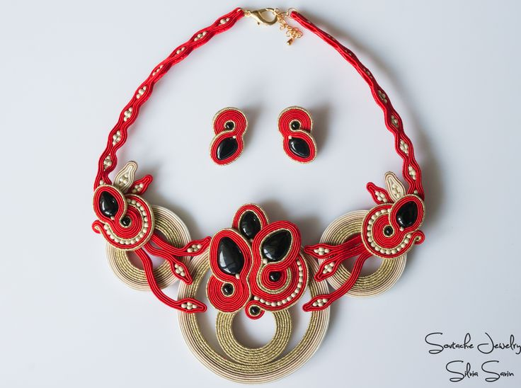 Red Beige Gold Soutache Necklace with Onix and Toho beads