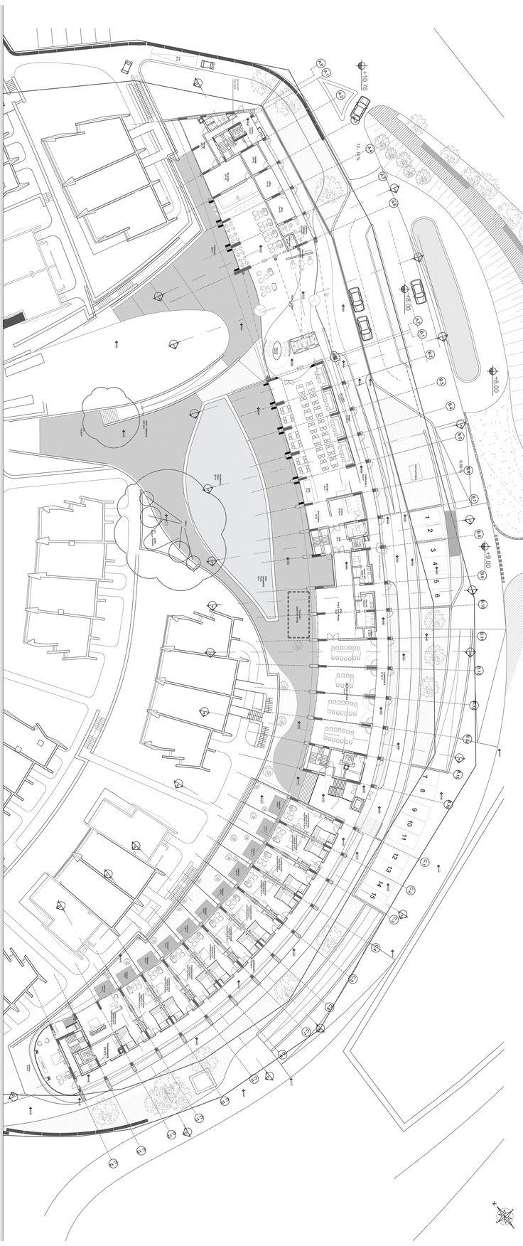 This main axis structures the development and serves as a back-spine of the site's circulation. Gokhan Avcioglu GAD Architecture #hotel #hoteldesign #architecture #architecturaldrawing #GADarchitecture #GAD #interiordesign #turkey #swissotel #turkiye #architect #mimar #mimarlik #pool #plans #villa #bodrum #luxury #largeimage #gokhanavcioglu #gadarchitecture #gadfoundation