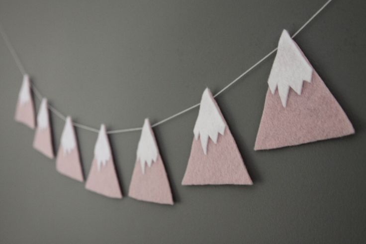 Felt Mountain Snowy Peaks Garland, Pink, She'll Move Mountains, Baby Nursery and Childrens Decor, Baby Shower Gift by madebyclairelouise on Etsy https://www.etsy.com/listing/228450338/felt-mountain-snowy-peaks-garland-pink