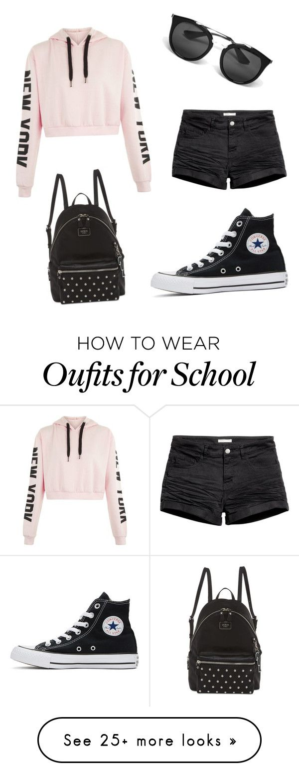 """My First Polyvore Outfit"" by teodorastoian on Polyvore featuring H&M, Converse, Prada and GUESS"
