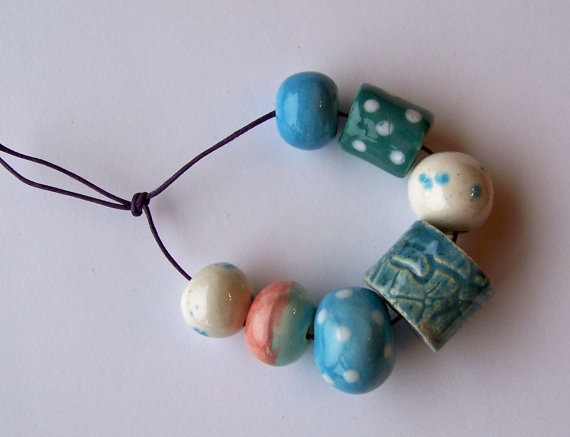 Ceramic beads handmade in South Africa sky by EarthbutterStudio, $13.50: African Beads, Beads Handmade, Ceramics Beads, Africans Beads, Earthbutt Beads, Ceramic Beads