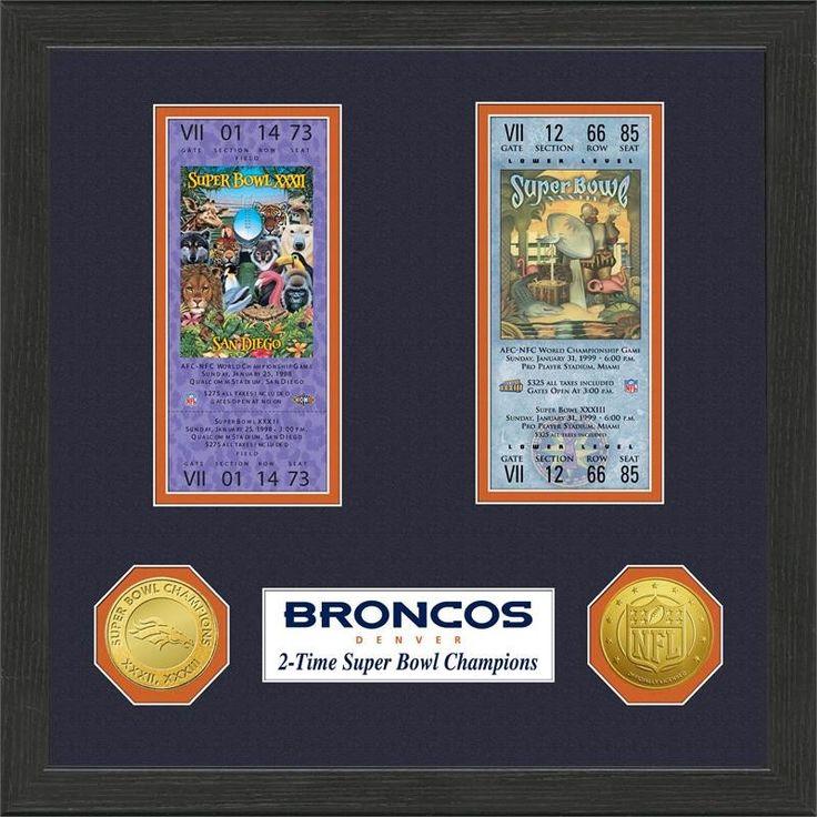 Denver Broncos Super Bowl Ticket Collection Plaque