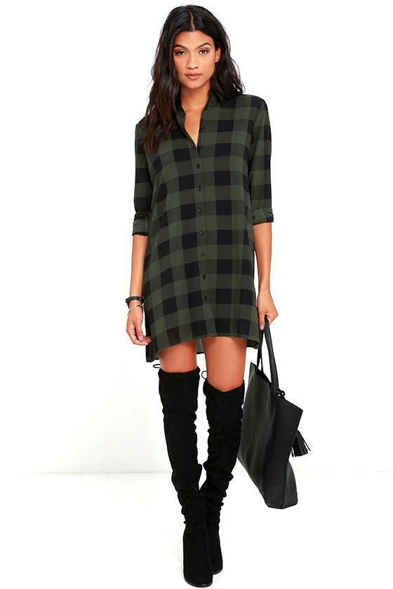 Take charge in '90s style with the BB Dakota Holly-Anne Green Plaid Shirt Dress! Lightweight woven poly shift dress (with a black and green plaid pattern) has a collared neckline and long button-cuff sleeves. Full button placket and detachable slip dress lining complete this classic ensemble!