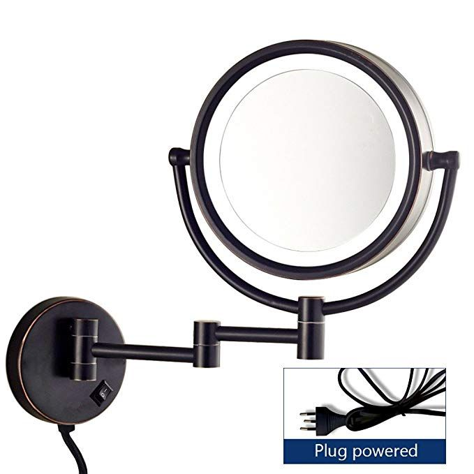 Gecious Wall Mount Magnifying Mirror With Light With 10x Magnification Led Lig Wall Mounted Makeup Mirror Wall Mounted Magnifying Mirror Mirror With Led Lights