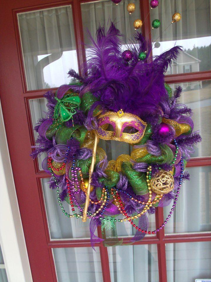 Mardi Gras mask ribbon spray  paint glitter feathers