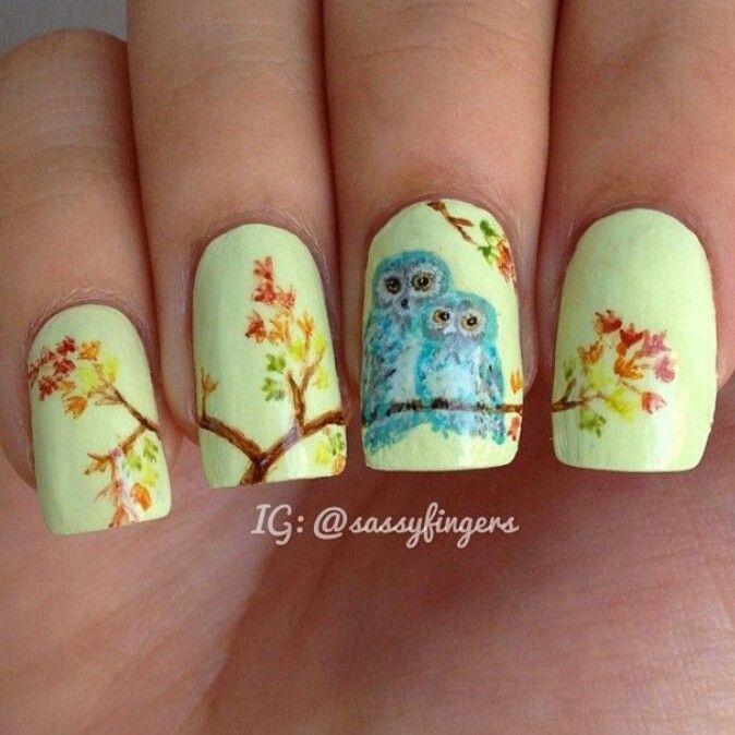 Cute owl nails