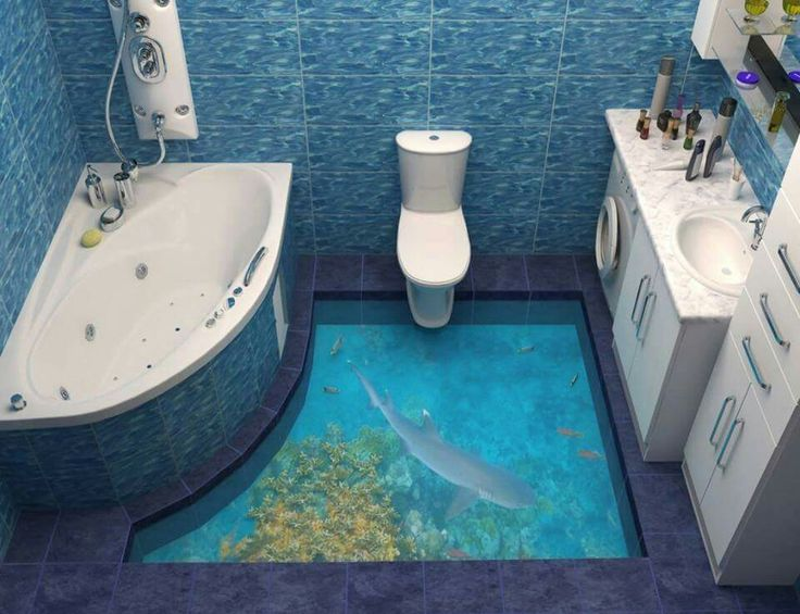 3D flooring...looks like a glass bottom bathroom ...