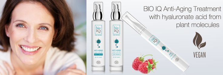 Truly natural, truly vegan anti-aging treatment. See BIO IQ day cream, BIO IQ night cream and  BIO IQ eye serum with hyaluronic acid -->  BIO IQ Laboratories acquire it from biomimetic plant molecules, NOT from animal cells.