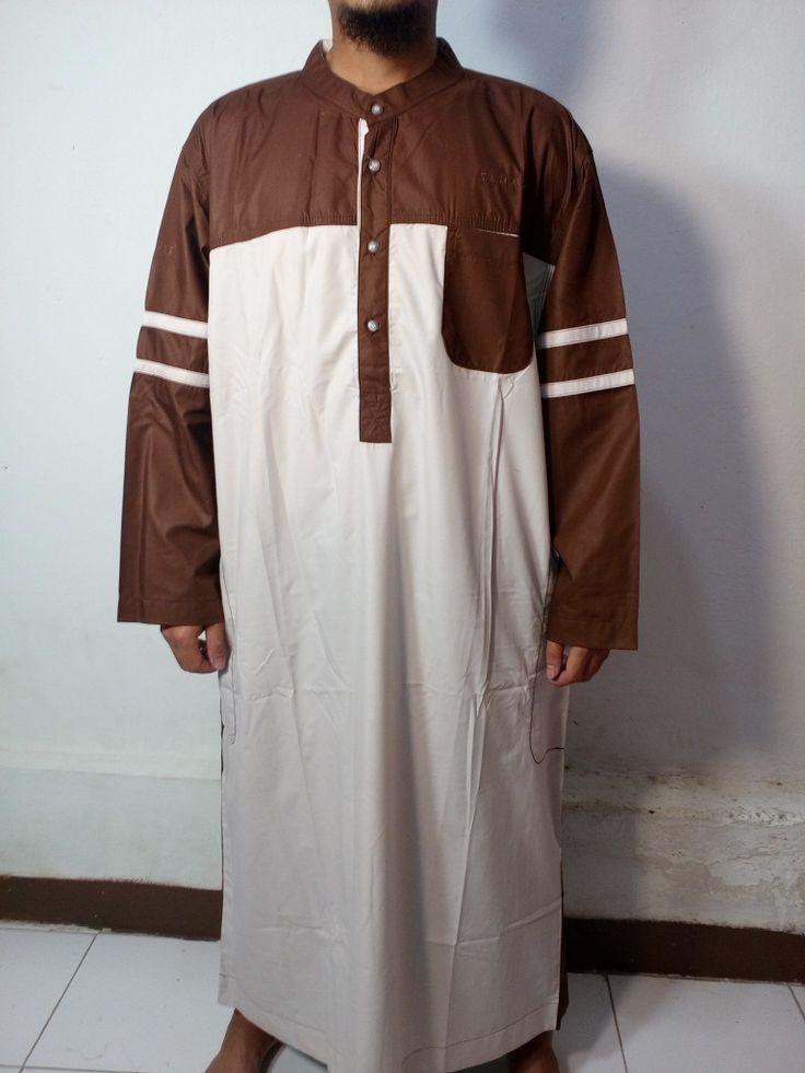 Baju Kurung Laki-Baju Gamis Atas Mata Kaki-Baju Jubah Pria Warna Putih-Coklat Lengan Garis-Baju Muslim Samase