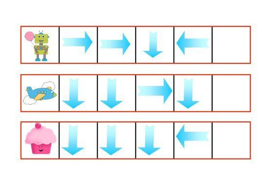 Suivre les flèches sur le tableau et placer le dessin sur la bande.  Il faut imprimer 2 fois le tableau repérage spatial, car on a besoin d'une  série de cartes pour faire le jeu.