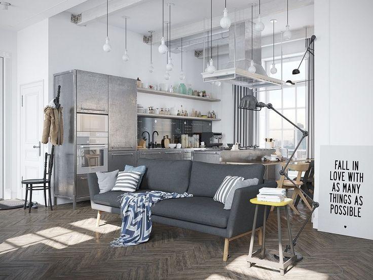 Industrialne wnętrza!  Niekoniecznie drogim, ale bardzo stylowym i oryginalnym pomysłem na mieszkanie jest industrializm opierający się na idei zachowania surowych elementów konstrukcyjnych, takich jak nagie cegły, goły beton, wyeksponowane rury, kable czy podniszczone, żeliwne kaloryfery.  #lampywiszace #lampkinocne #lampystołowe #DecoArt24