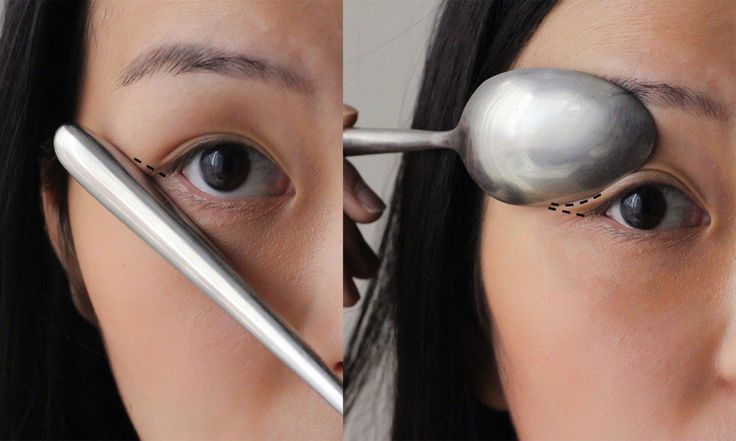 Achieve perfect winged eyeliner with a spoon - Top 9 Eyeliner Hacks That Will Change Your Life