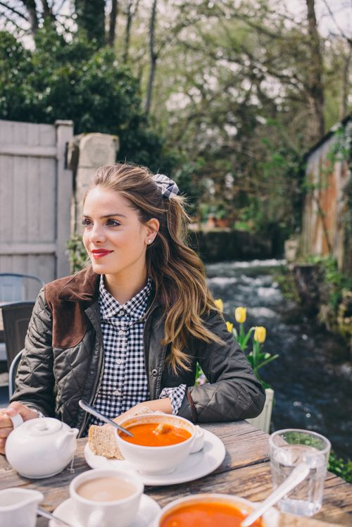 Gal Meets Glam Exploring the Cotswolds - Ralph Lauren jacket, J.Crew shirt and Club Monaco hair tie