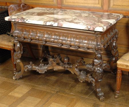 A Walnut Centre Table made in Holland 1750 by the French Huguenot Emigre designer Daniel Marot @ Sudbury Hall Derbyshire Kingston Lacy © National Trust / Simon Harris